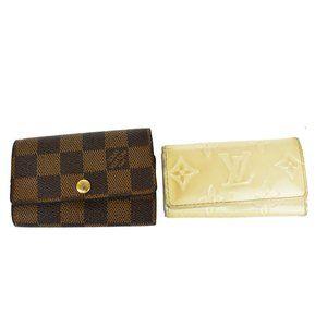 Auth LOUIS VUITTON 2 Set Bifold Wallet Key Case Monogram Vernis Damier